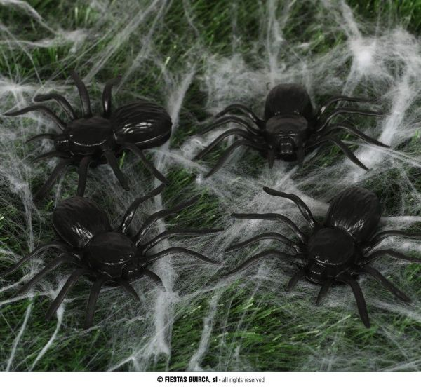 4 PLASTIC SPIDERS